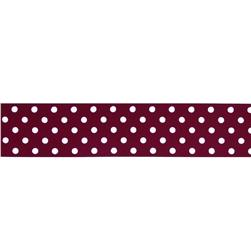 "May Arts 1 1/2"" Grosgrain Dots Ribbon Spool Burgundy/White"