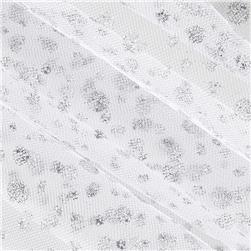54'' Wide Glitter Dots Tulle White/Silver Fabric