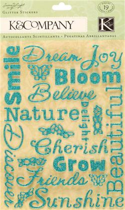 Susan Winget Nature Word Glitter Stickers 19/pcs