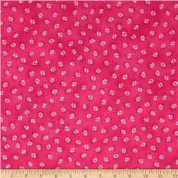 Laurel Burch Dogs & Doggies Paw Prints Fuchsia