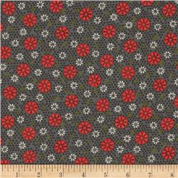 Victory Small Geo Floral Dark Grey Fabric
