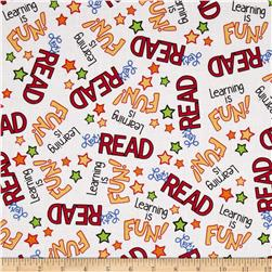 Learning Is Fun Word Toss White Fabric