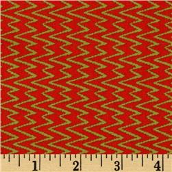 Primitiva Zig Zags Orange/Green Fabric