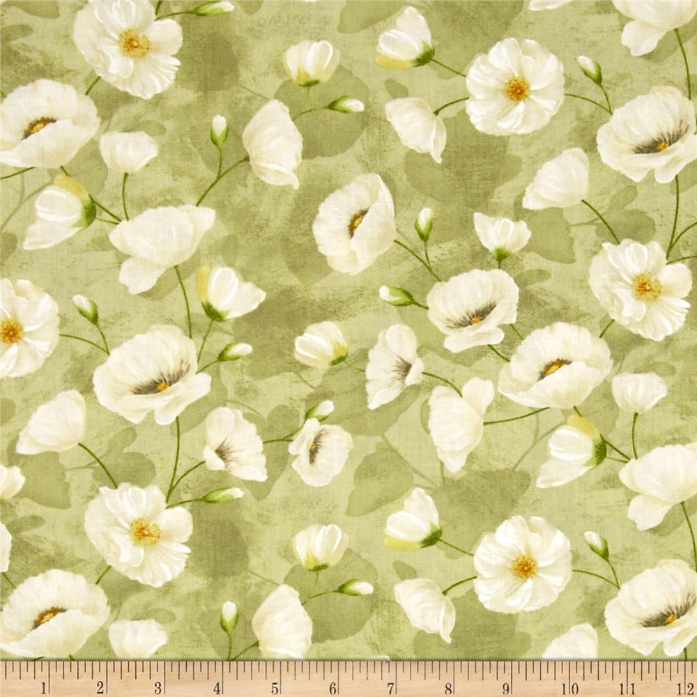 Poppy Celebration Trailing Poppies Ivory/Green