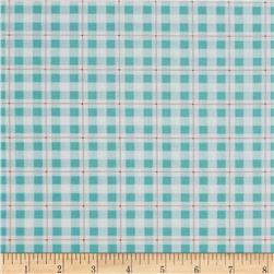Daisy Garden Plaid Aqua Fabric