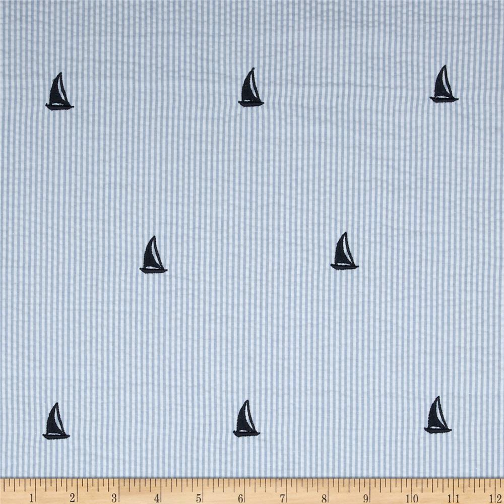 Kaufman Embroidered Seersucker Sailboats Blue