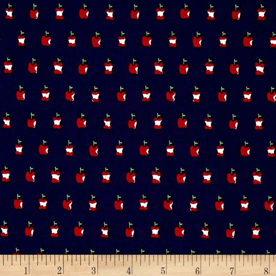 Alexander Henry In the Kitchen Apple a Day Navy Fabric by Alexander Henry in USA