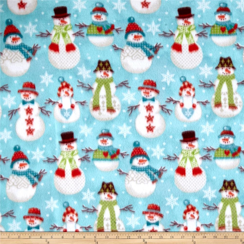 winter fleece folk snowmen discount designer fabric fabriccom