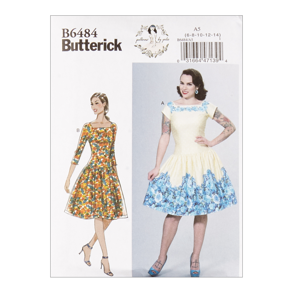 1950s Fabrics & Colors in Fashion Butterick B6484 Patterns by Gertie Square-Neck Dropped-Waist Dresses A5 SZ 6-14 $11.97 AT vintagedancer.com