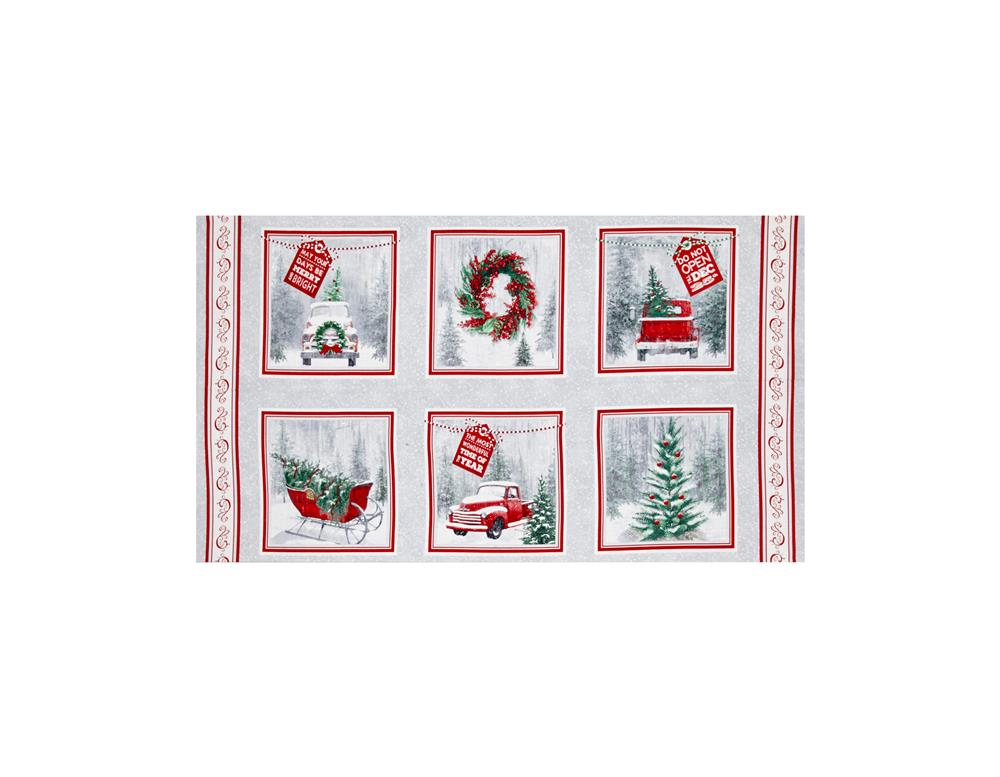 Holiday Traditions Block 24 In. Panel Red & Gray Fabric By The Yard