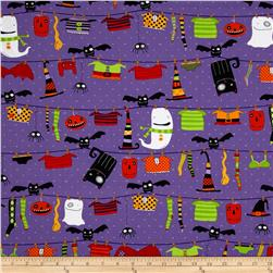Stitchy Witchy Haunts Repeating Stripe Purple/ Multi