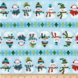 Snowman Christmas Repeating Stripe Blue