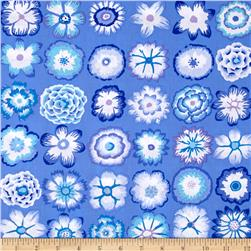 Kaffe Fassett Button Flowers  Blue