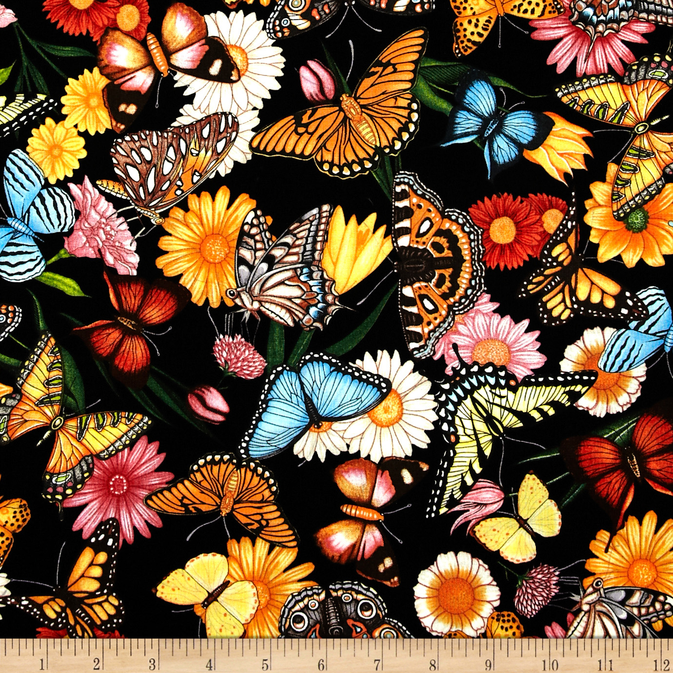 Spring Symphony Butterflies Black Fabric