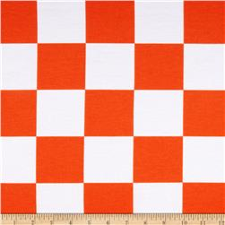 Spun Poly Double Knit Checks Orange/White