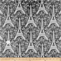 Michael Miller Laminated Cotton La Tour Eiffel Black