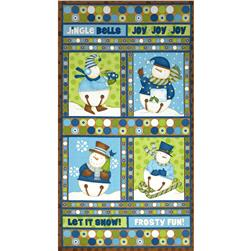 Jingle Bell Snowmen Wall Hanging Panel Multi