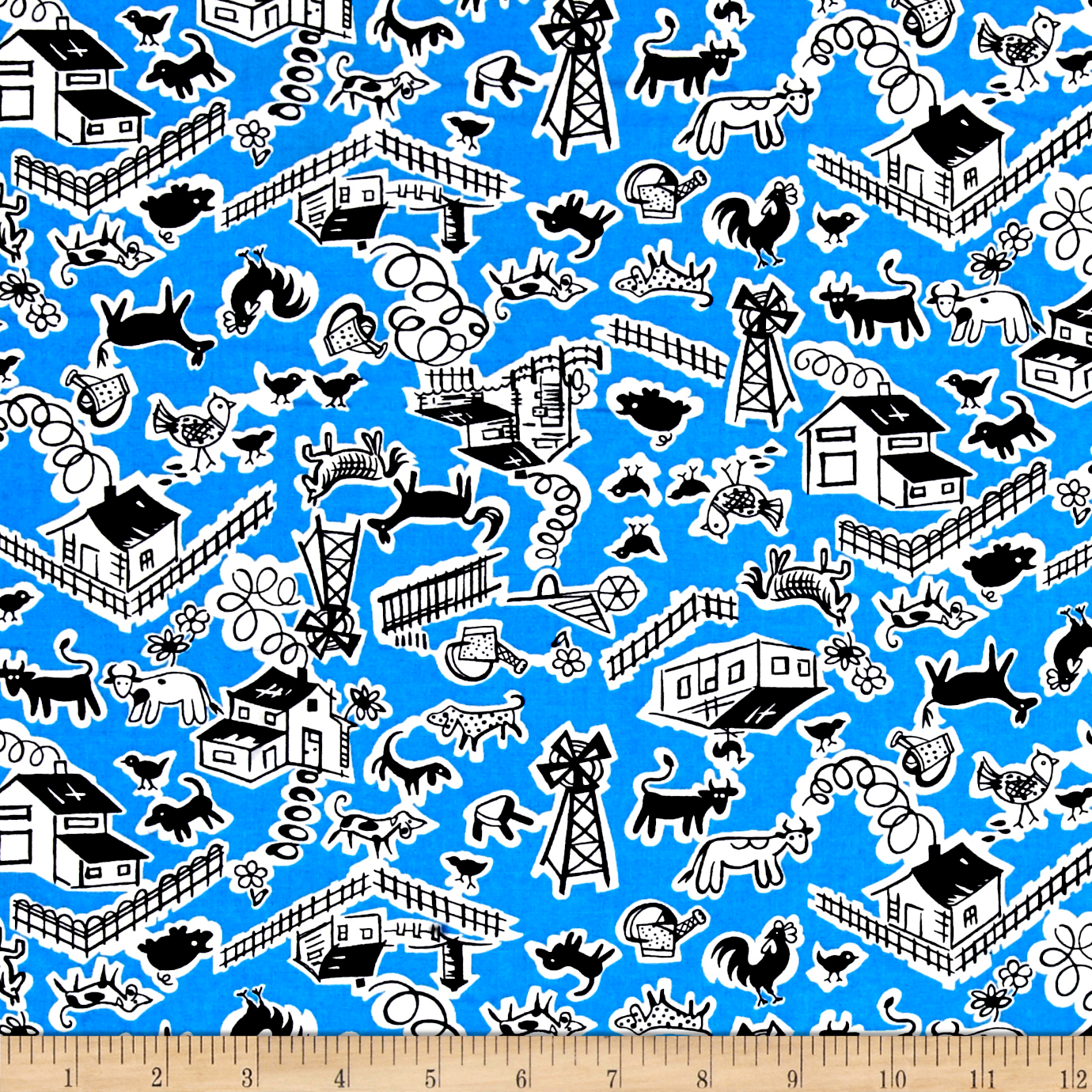Image of Everything But The Kitchen Sink Barnyard Pond Fabric
