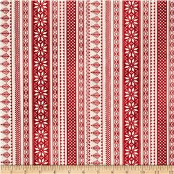 Winter Celebration Nordic Stripe Red Fabric