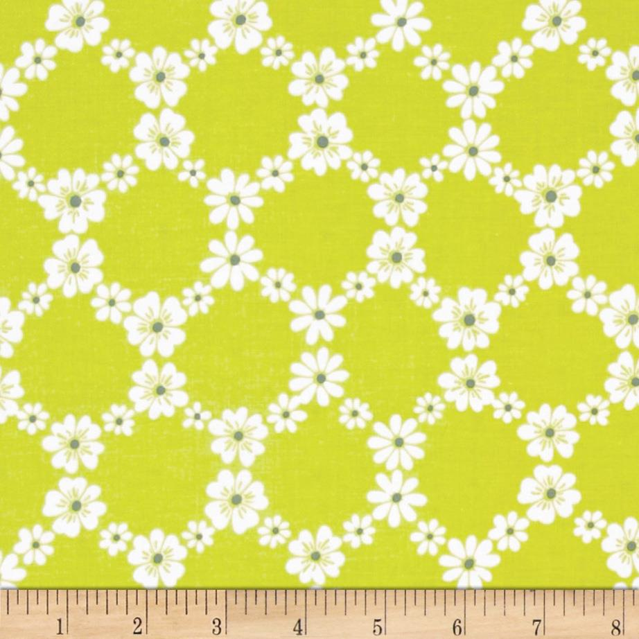 Michael Miller Happy Tones Jemma Floral Lattice Lime