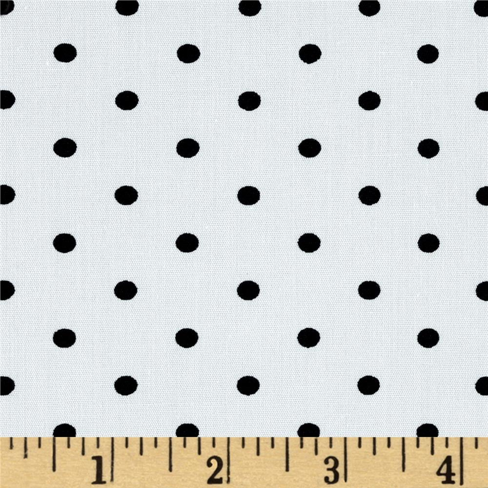 Telio Morocco Blues Stretch Cotton Shirting Small Polka Dots Black/White
