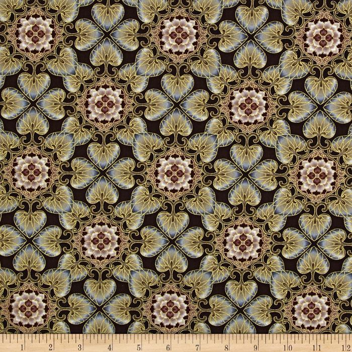 Esmeralda Floral Medallion Metallic Linen Brown