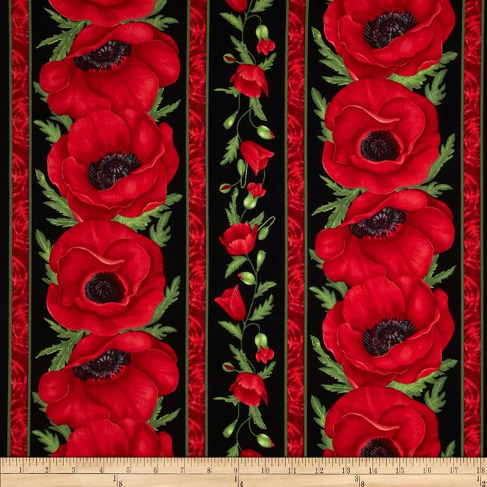 Flora Poppy Border Stripe Red