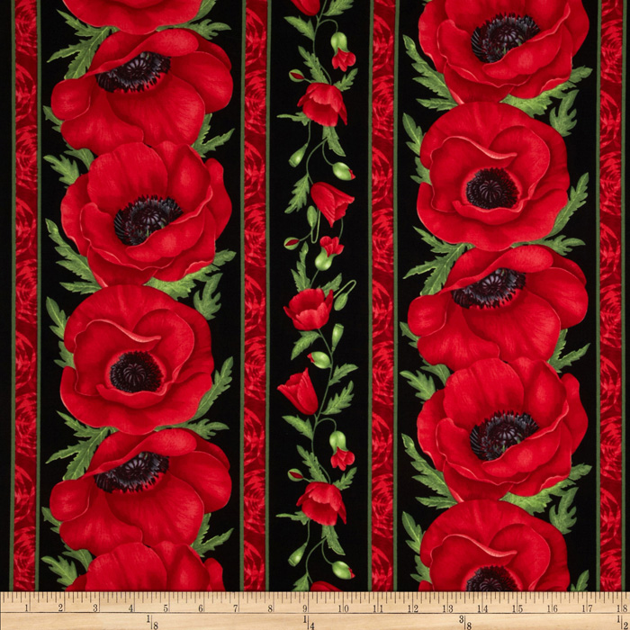 Flora Poppy Border Stripe Red Fabric