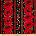 Poppies Poppy Border Stripe Red