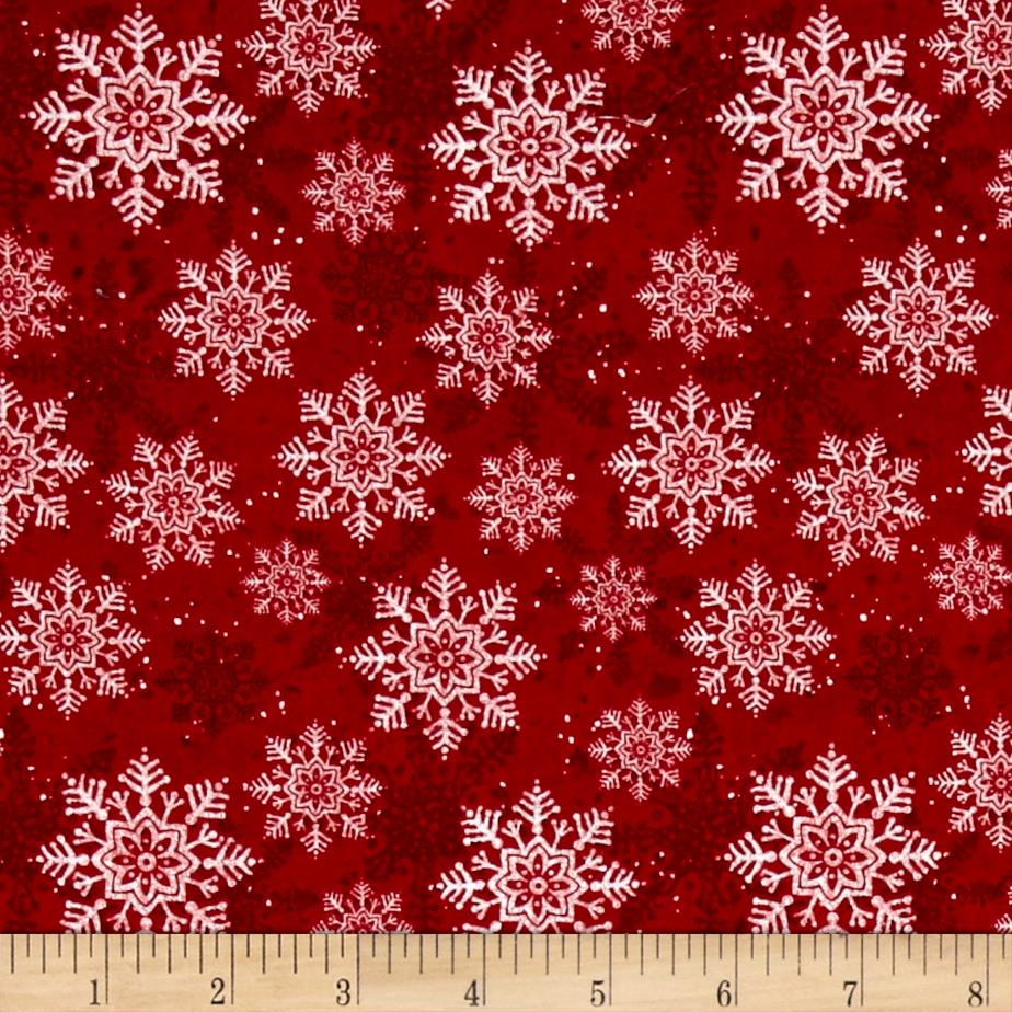 Christmas Wishes Snowflakes Light Red