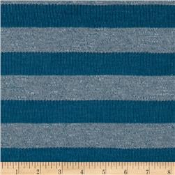 Stretch Yarn Dyed Jersey Knit Textured Stripes Blue