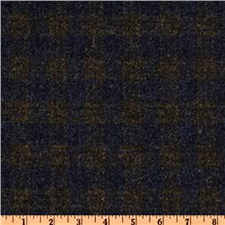 Wool Suiting Plaid Navy Blue/Brown