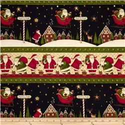 Santa's Big Night Repeating Stripe Cream/Multi