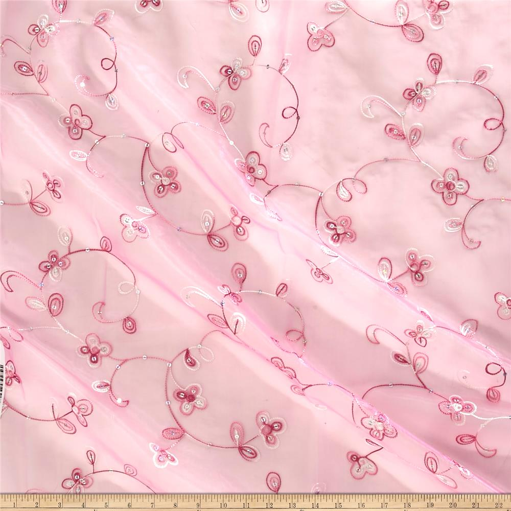 Embroidered Sequin Organza Light Pink
