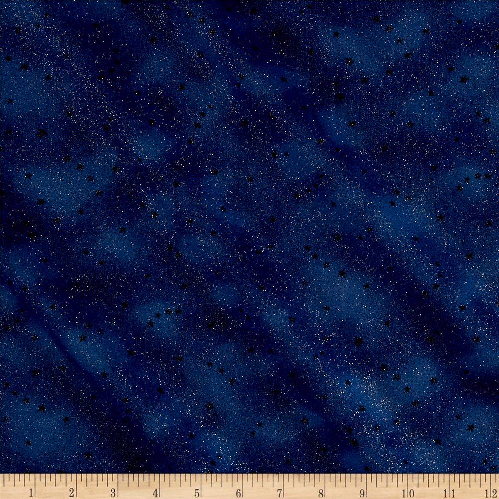 Moda forest ii glitter stars night sky discount designer for Night sky print fabric