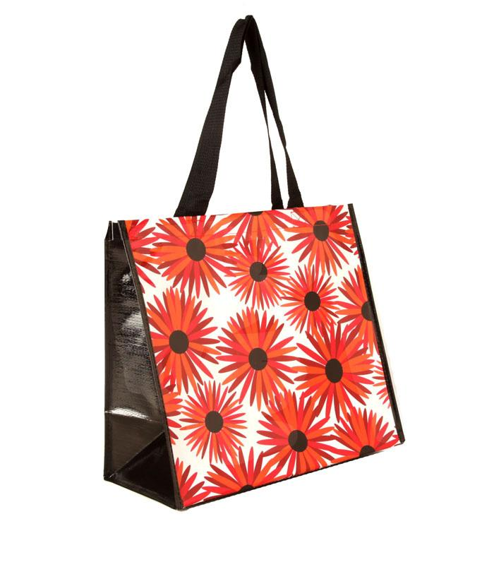 Insta-Totes Shopping Tote Red Daisy Dots