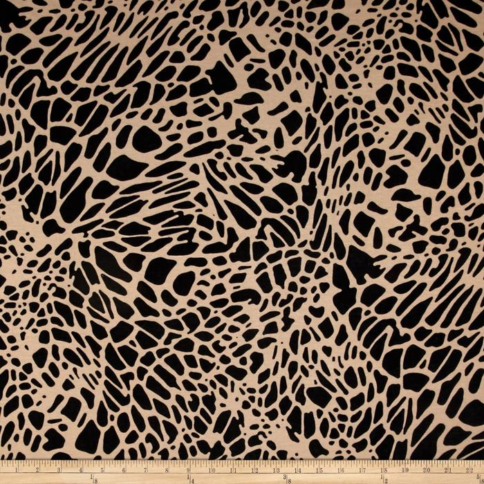 Stretch Jersey Knit Animal Print Tan/Black