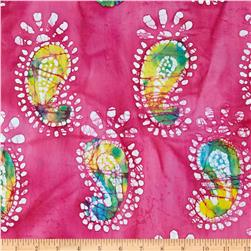 Indian Batik Paisley Hot Pink/Aqua