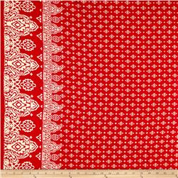 Rayon Challis Double Border Coachella Red