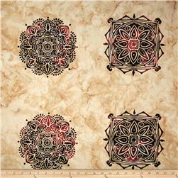 Bali Batiks Handpaints Ethnic Medallion Tile Alabaster