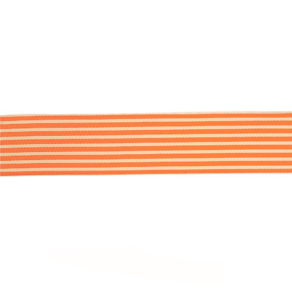 "May Arts 1 1/2""  Grosgrain Stripes Ribbon Spool Orange/Ivory"