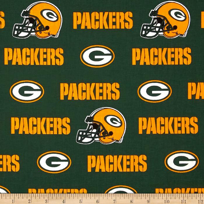 NFL Cotton Broadcloth Green Bay Packers Green/Yellow
