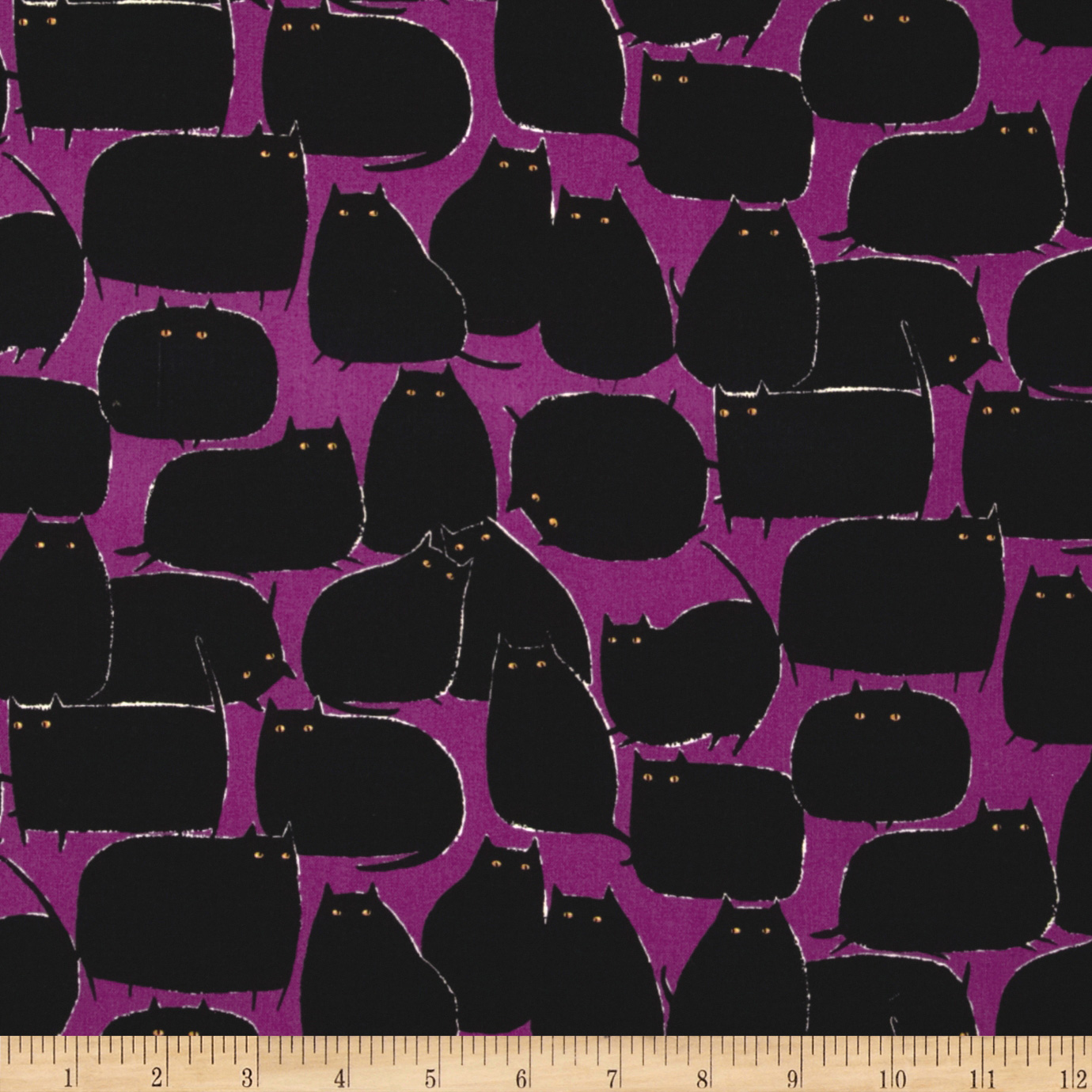 Magic Meows Cats Purple Fabric