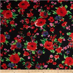 Stretch Soft Jersey Knit Floral Black/Green/Red/Purple