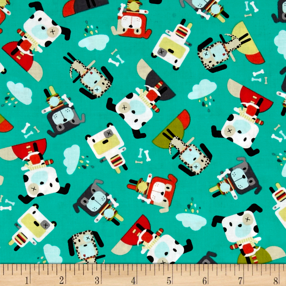 Michael Miller Bot Boy Bot Dog Teal Fabric