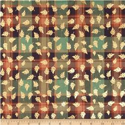 Holiday Blitz Large Plaid Metallic Leaf Rust/Green Fabric