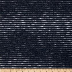 Rayon Cotton Sweater Knit Slub Stripe Navy/White