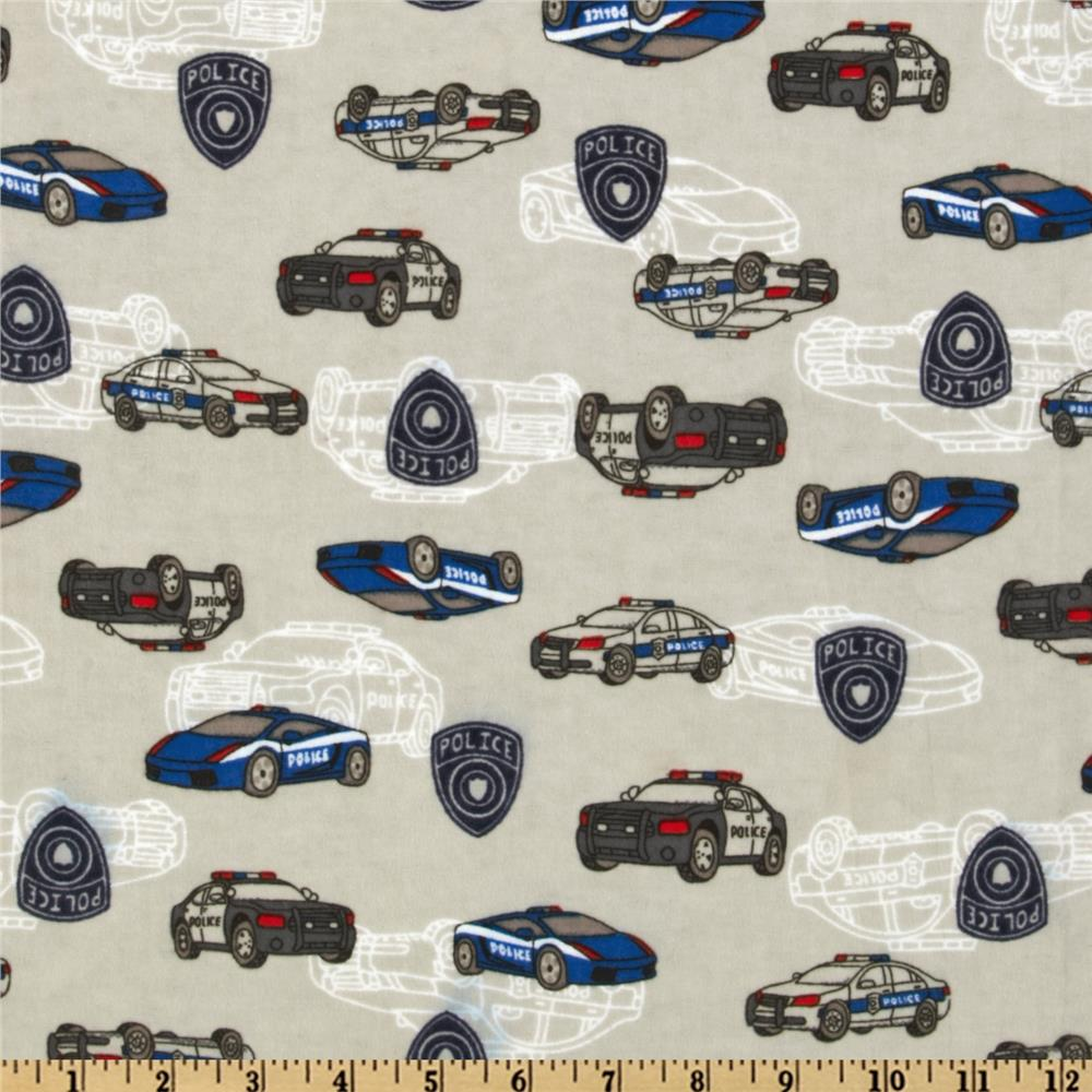 Camelot Flannel Police Cars Grey
