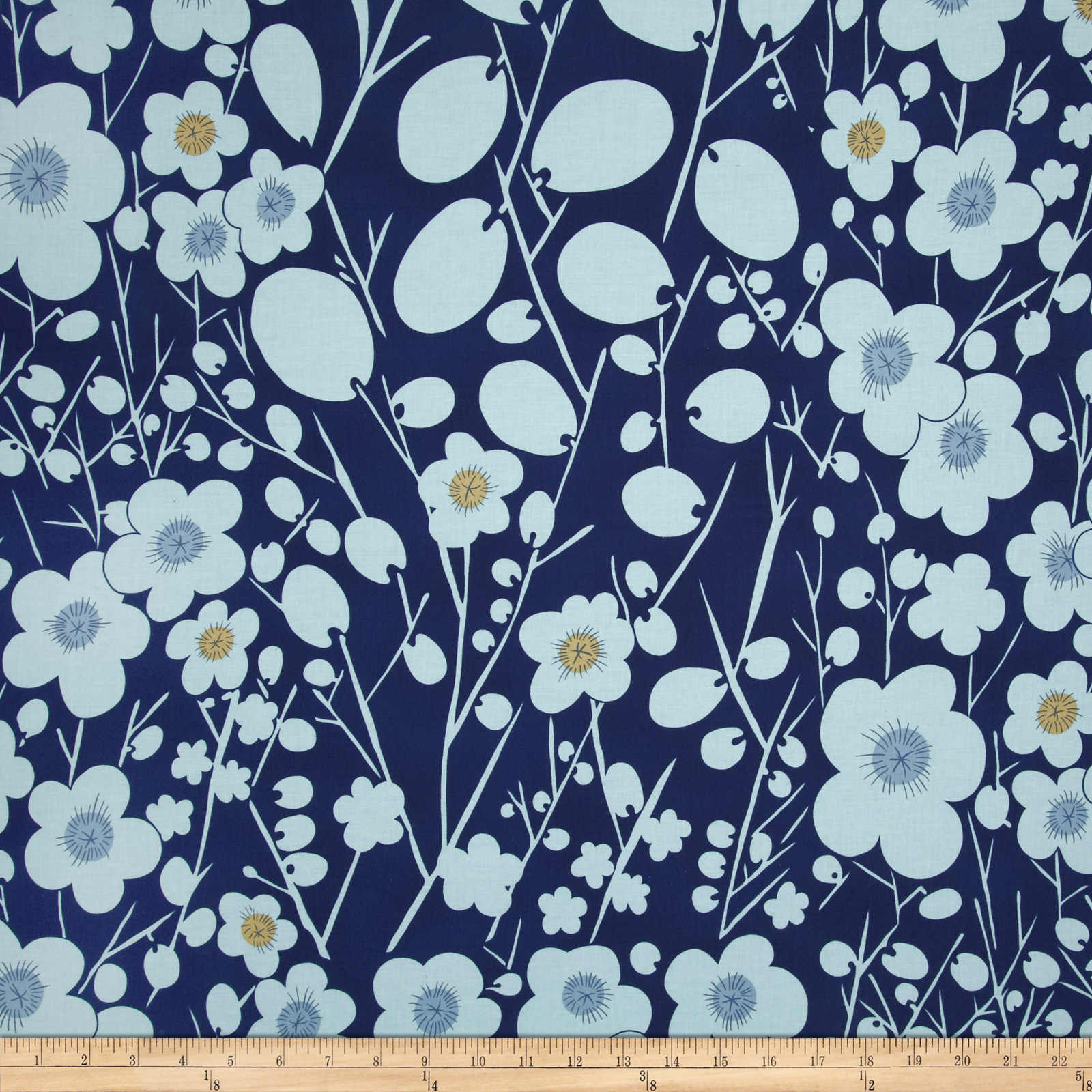 Nobi Plum Blossoms Indigo Fabric