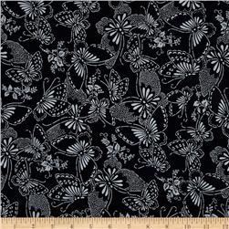 110'' Wide Quilt Backing Butterfly Black/White